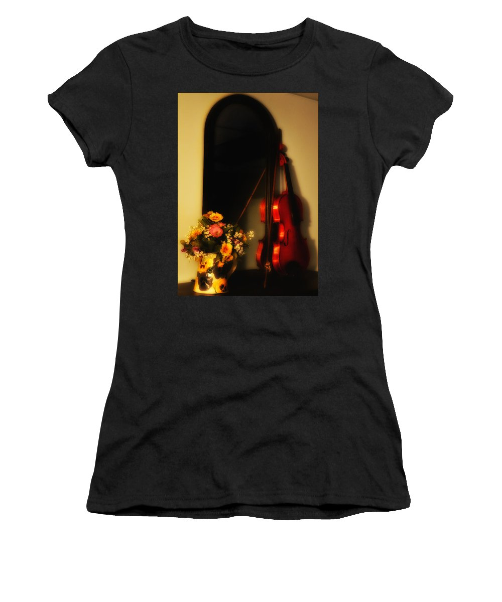 Flowers Women's T-Shirt (Athletic Fit) featuring the photograph Flowers And Violin by Bill Cannon