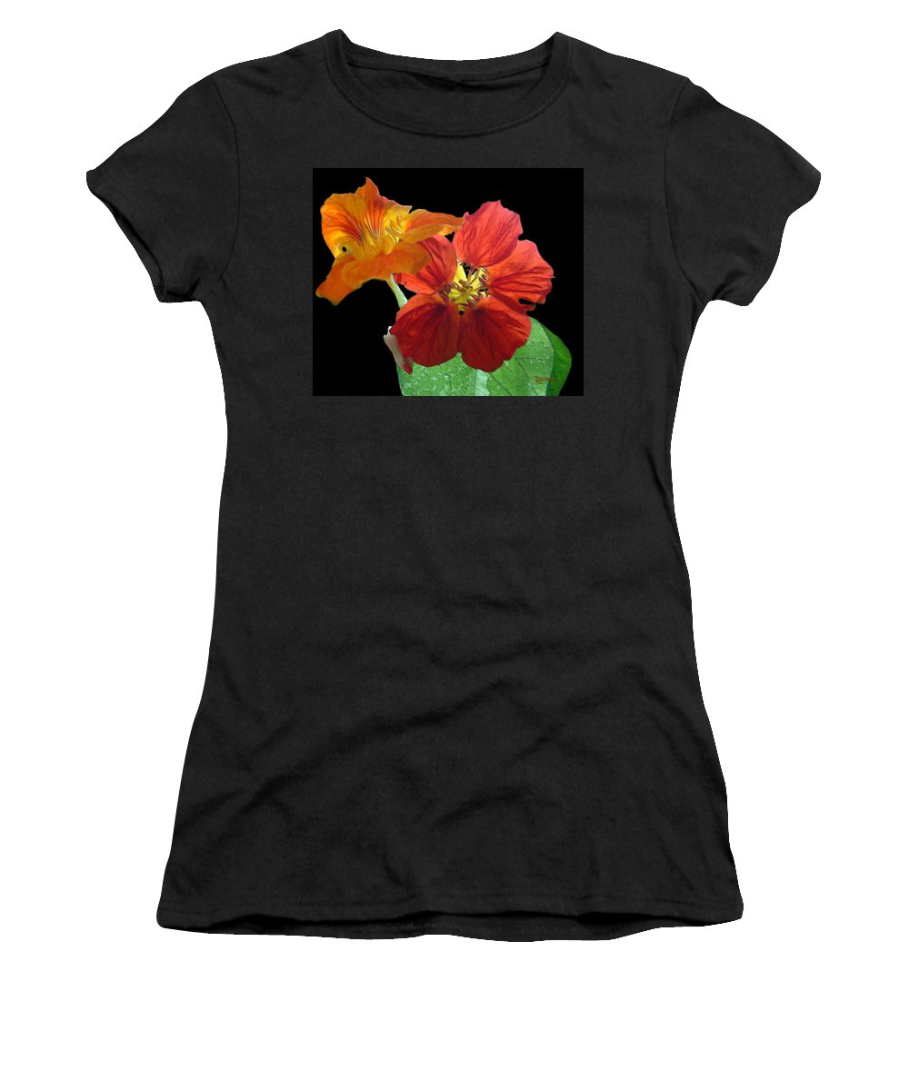 Nasturtiums Women's T-Shirt featuring the painting Flowers For Ebie by RC DeWinter