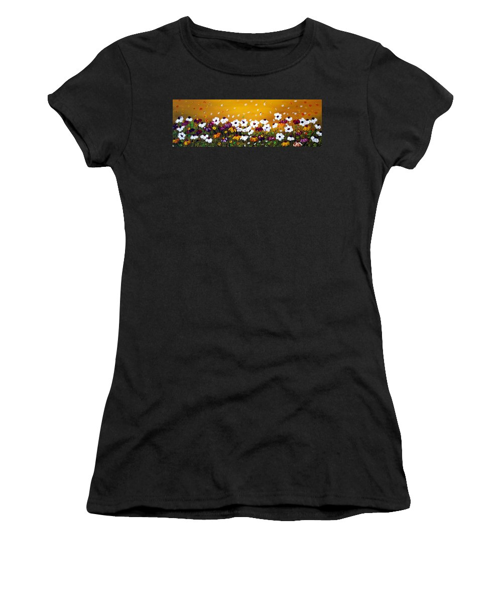 Flowers Women's T-Shirt featuring the painting Flowers In The Sunset by Luiza Vizoli