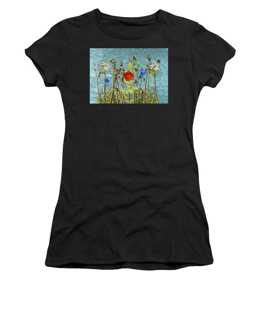 Summer Flowers Women's T-Shirt (Athletic Fit) featuring the photograph Flowers On A Piece Of Wood by Ludmila SHUMILOVA