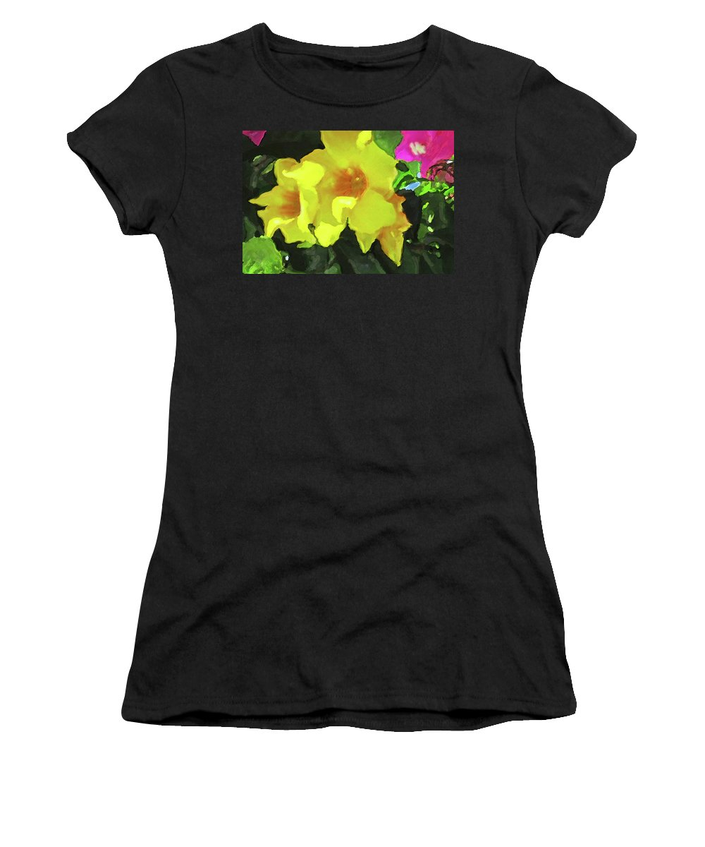 Flowers Women's T-Shirt (Athletic Fit) featuring the photograph Flowers On Deck by Ian MacDonald