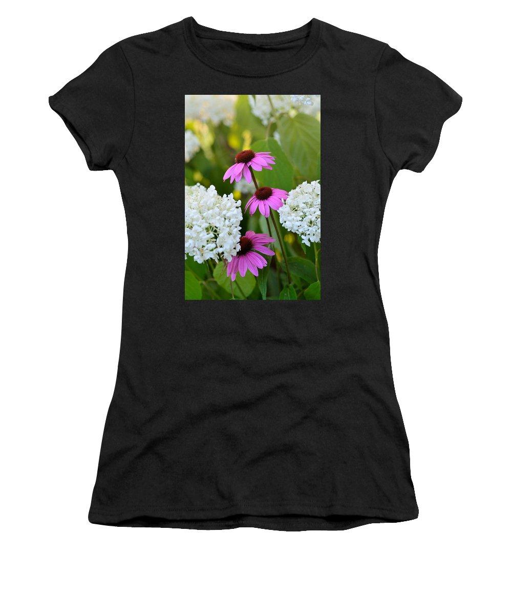 Garden Women's T-Shirt featuring the photograph Flowers That Contrast by Janet Rockburn