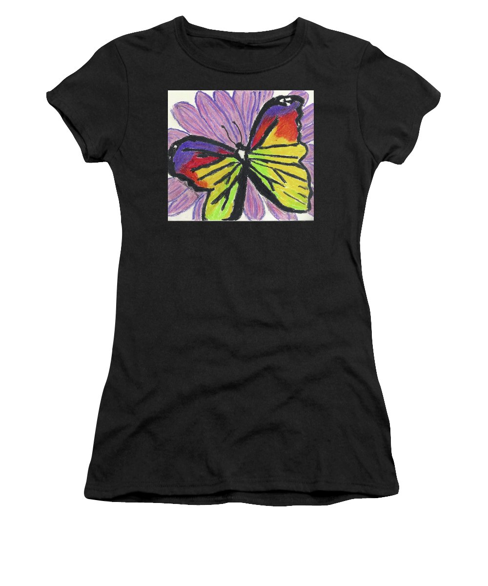 Butterfly Women's T-Shirt (Athletic Fit) featuring the pastel Flutter Fly by Ali Baucom