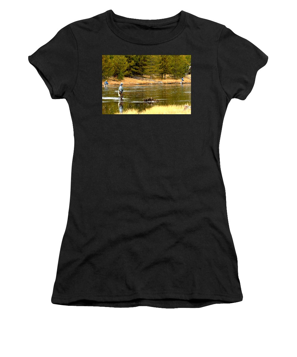 Yellowstoone National Park Women's T-Shirt (Athletic Fit) featuring the photograph Fly Fishing On The Madison by Adam Jewell