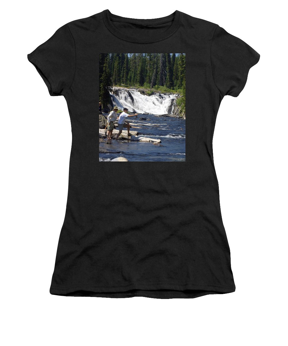 Fly Fishing Women's T-Shirt (Athletic Fit) featuring the photograph Fly Fishing The Lewis River by Marty Koch