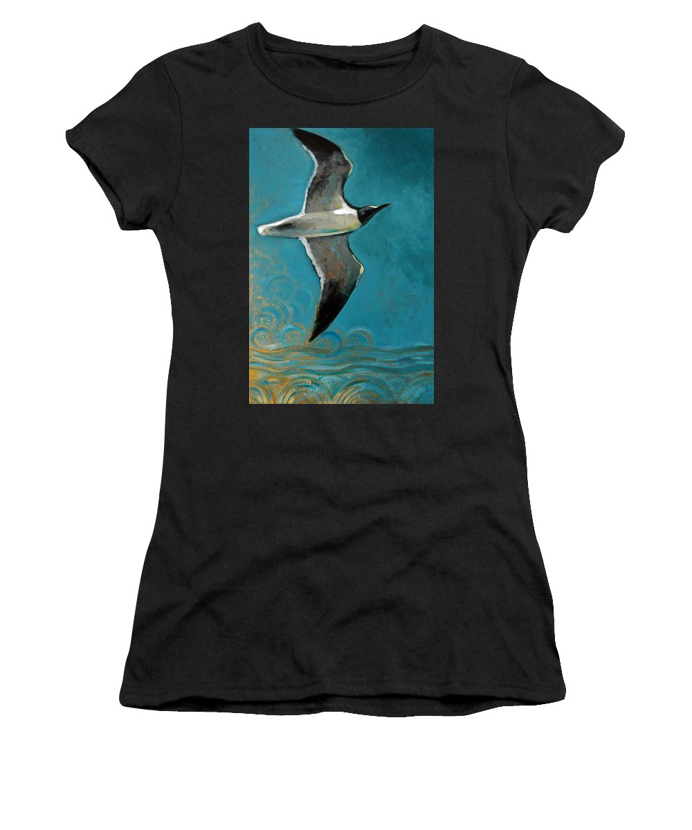 Acrylic Women's T-Shirt (Athletic Fit) featuring the painting Flying Free by Suzanne McKee