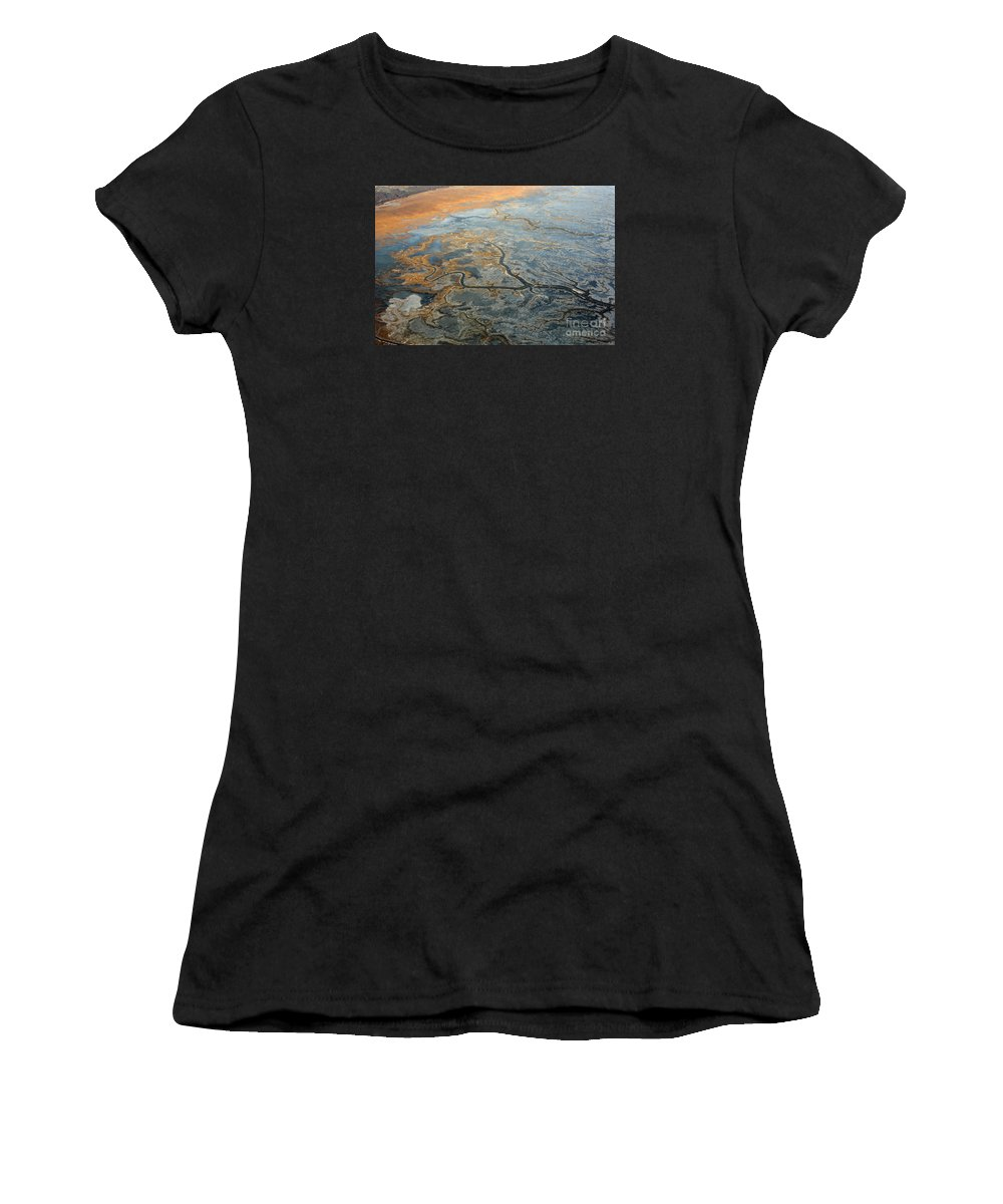 Anchorage Women's T-Shirt (Athletic Fit) featuring the photograph Flying From Fairbanks To Anchorage, Shooting In Airplane by Chon Kit Leong