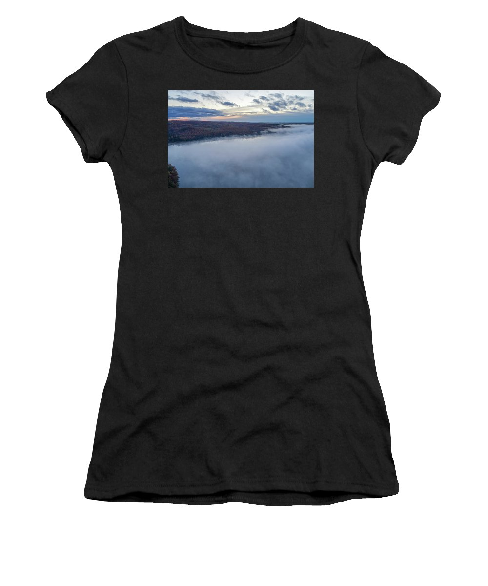 Marquette Women's T-Shirt (Athletic Fit) featuring the digital art Fog On Goose Lake by Bradley J Nelson