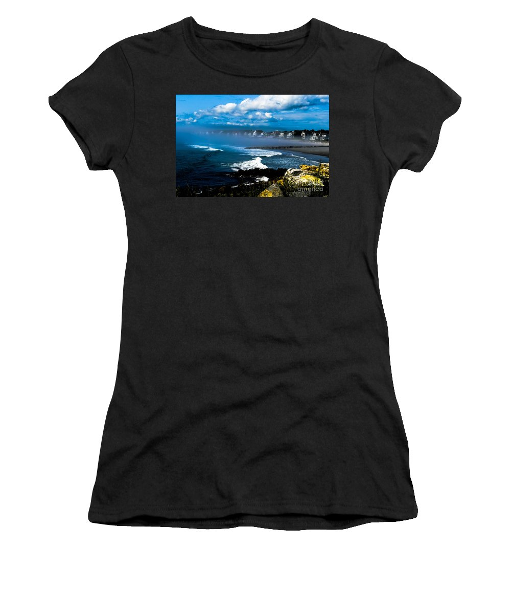 Altantic Coastine Women's T-Shirt (Athletic Fit) featuring the photograph Fog Rolling In  by Michael Goodin