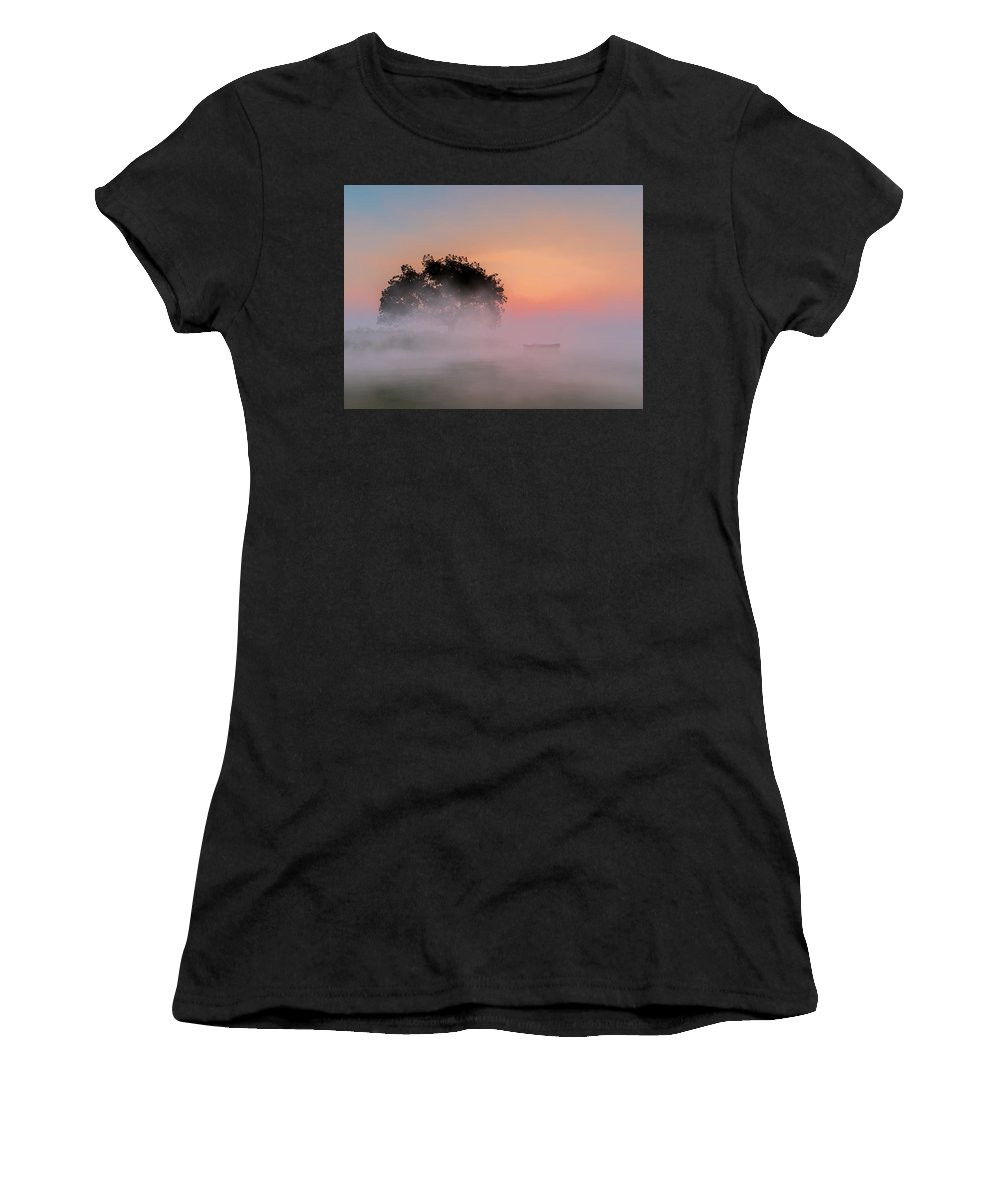 Fog Women's T-Shirt featuring the digital art Foggy Lake by Andreas Hoops