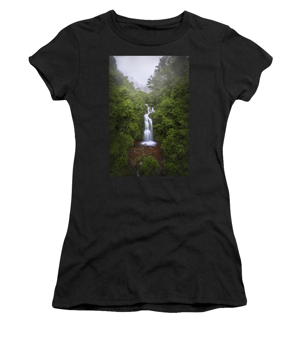 Landscape Women's T-Shirt (Athletic Fit) featuring the photograph Foggy Waterfall by Luis Lyons