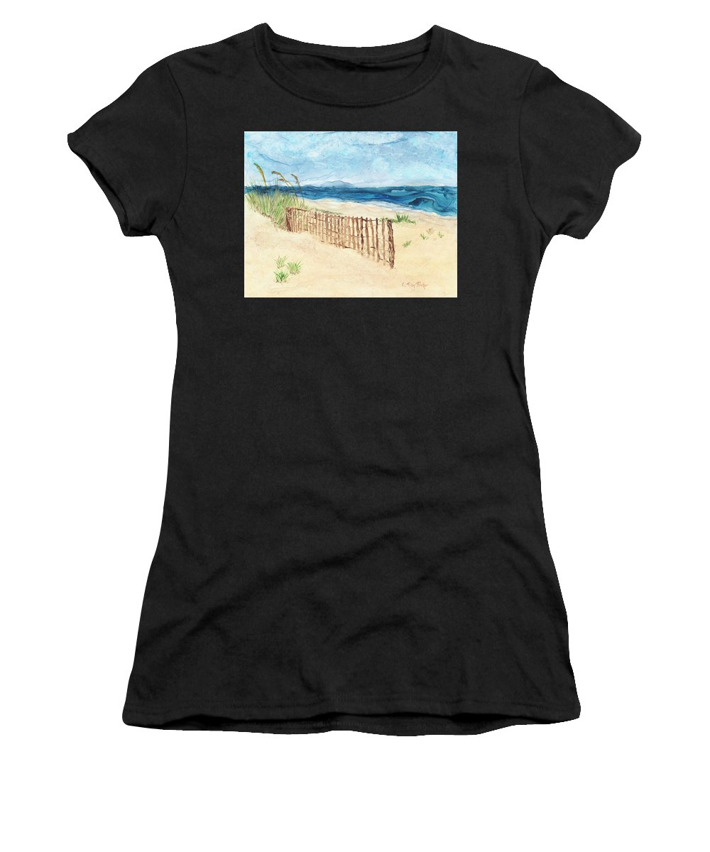 Landscape Women's T-Shirt featuring the painting Folly Field Fence by Kathryn Riley Parker