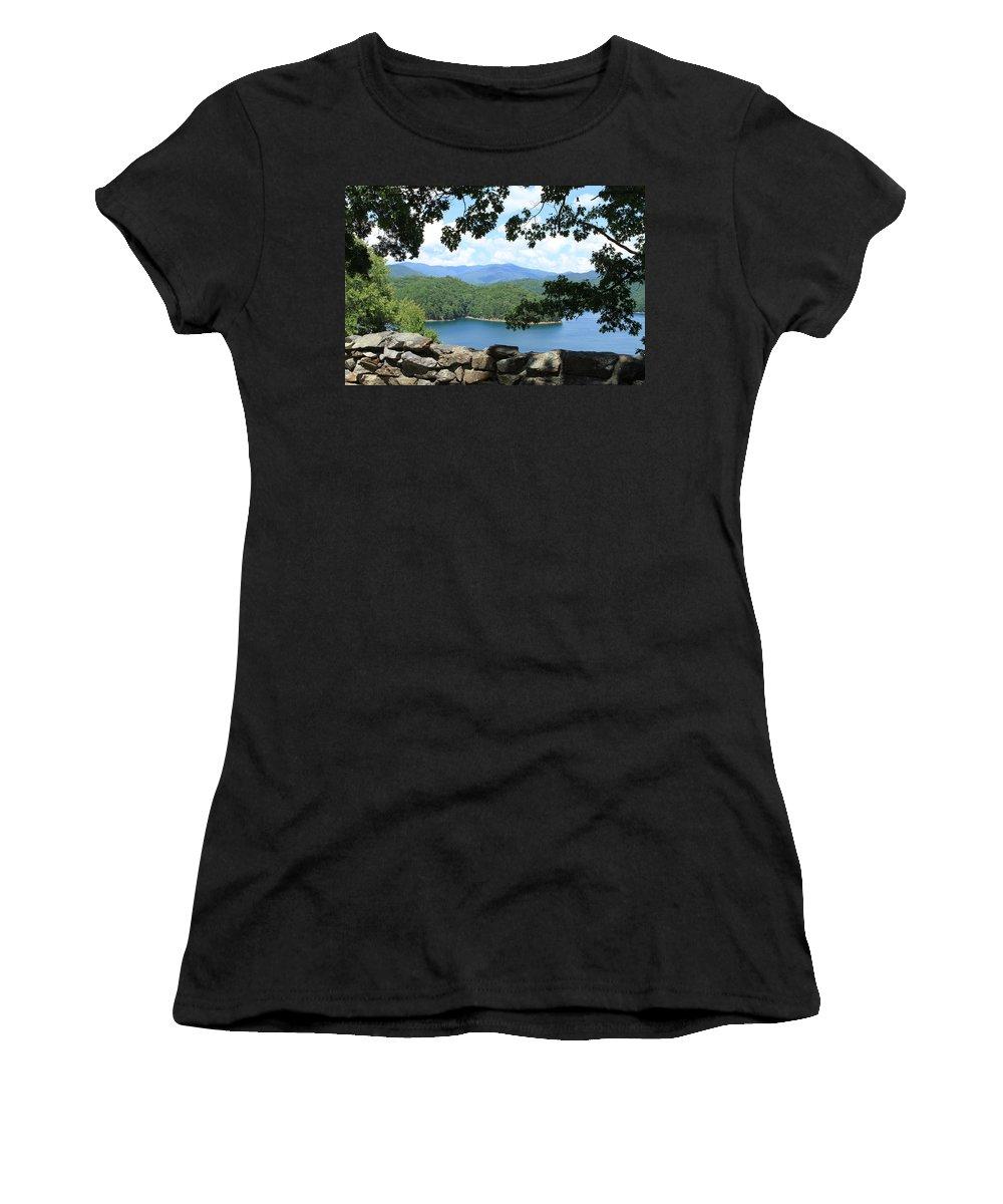 Fontana Lake Women's T-Shirt (Athletic Fit) featuring the photograph Fontana Lake At The Dam by Karen Ruhl