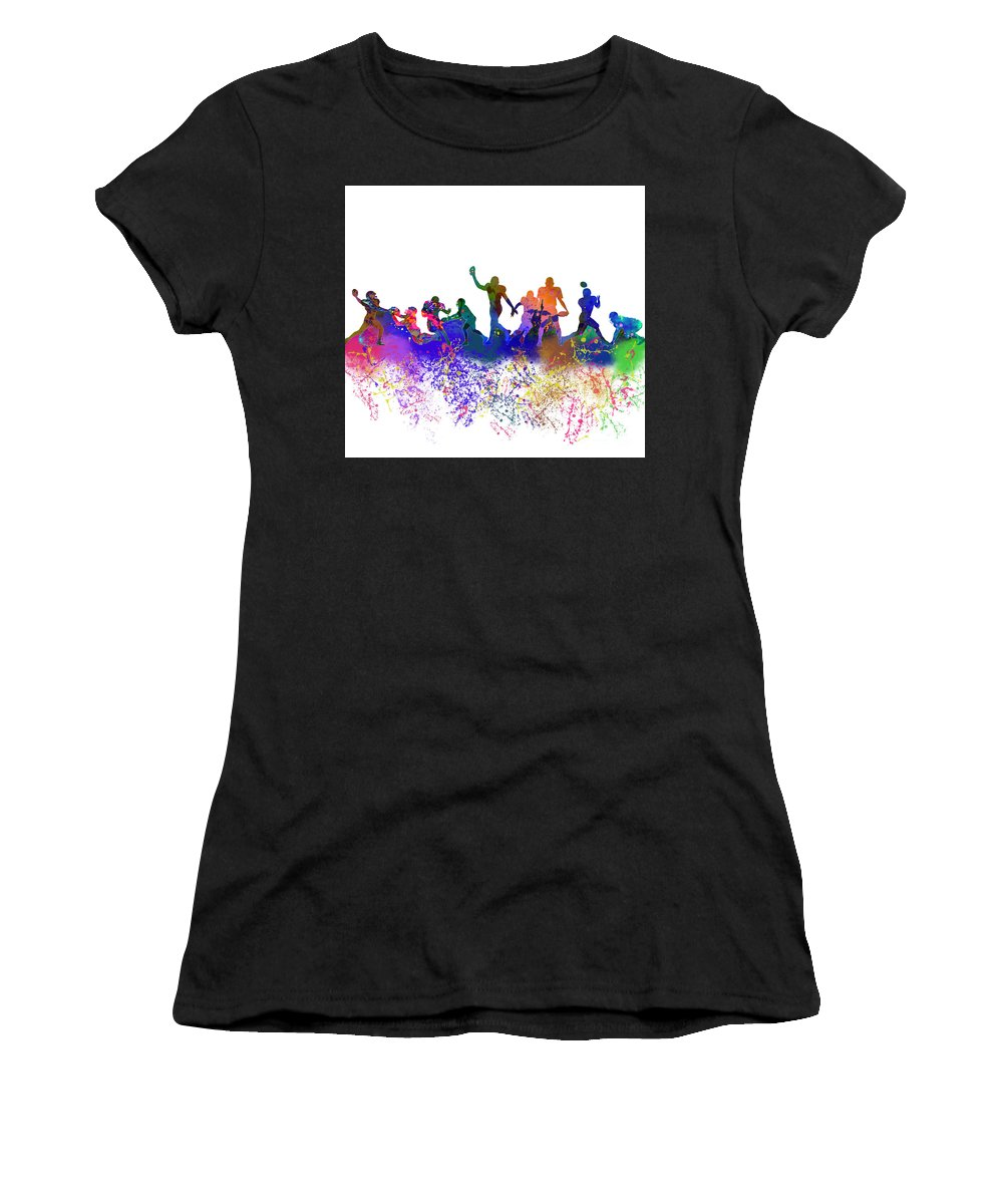 Women's T-Shirt featuring the mixed media Football Players Skyline by Simo Bikazzan
