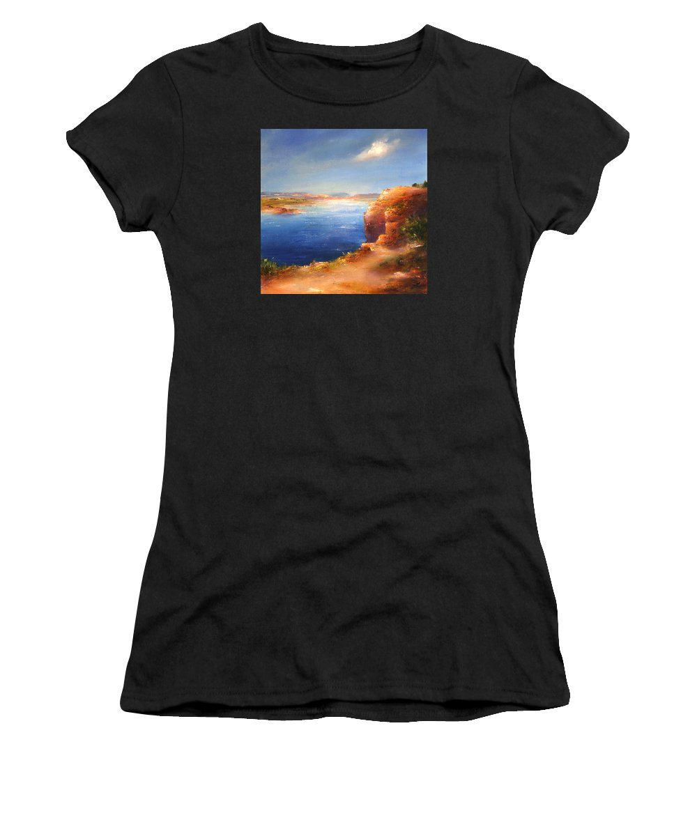 Landscape Women's T-Shirt (Athletic Fit) featuring the painting For Candie by Petra Ackermann