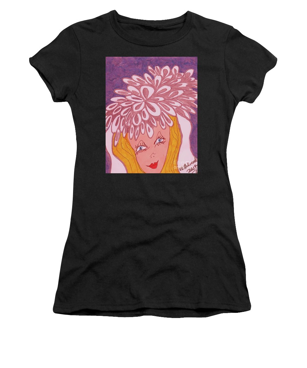 Silver And White Women's T-Shirt featuring the mixed media For My June Wedding by Elinor Helen Rakowski