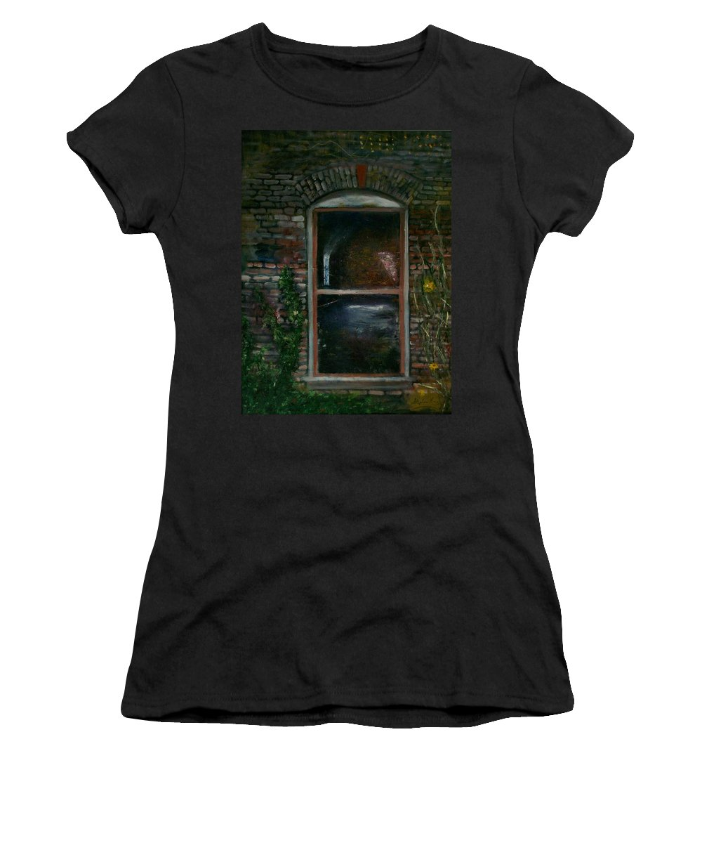Landscape Women's T-Shirt (Athletic Fit) featuring the painting For Rent by Stephen King