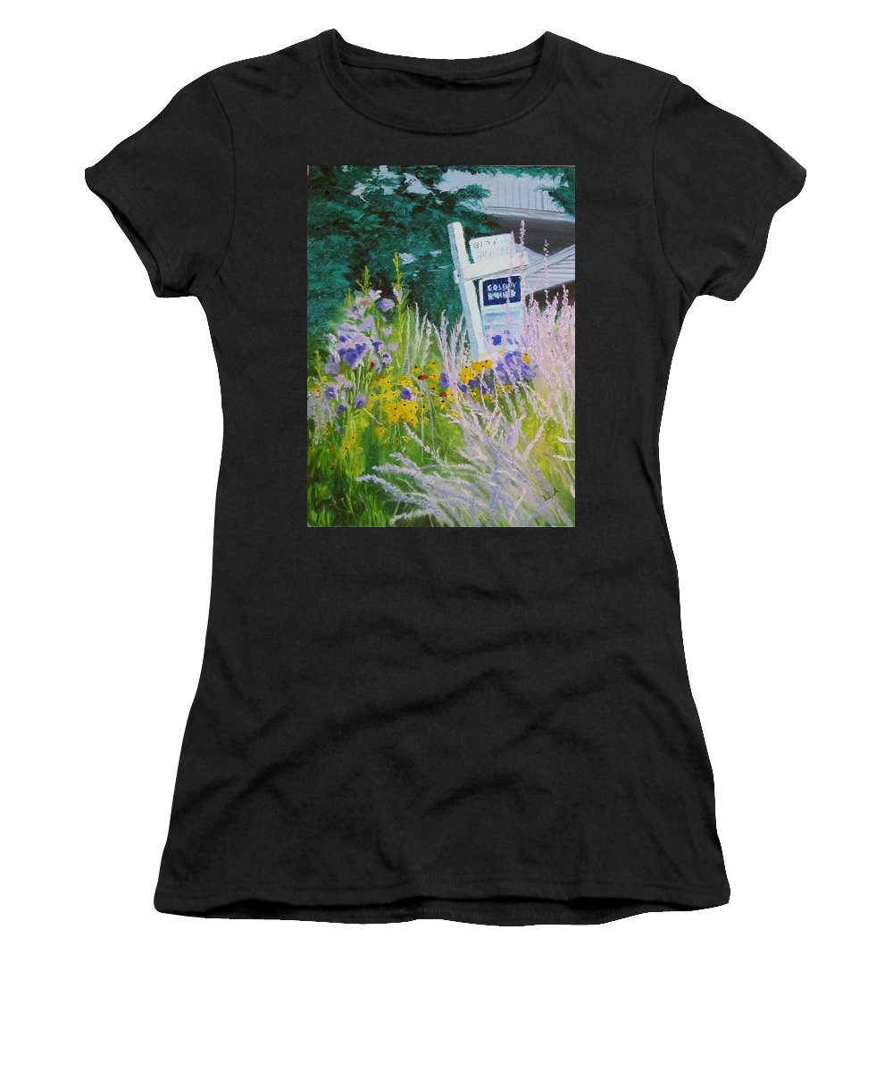 Landscape Women's T-Shirt (Athletic Fit) featuring the painting For Sale - A Patch Of Paradise by Lea Novak