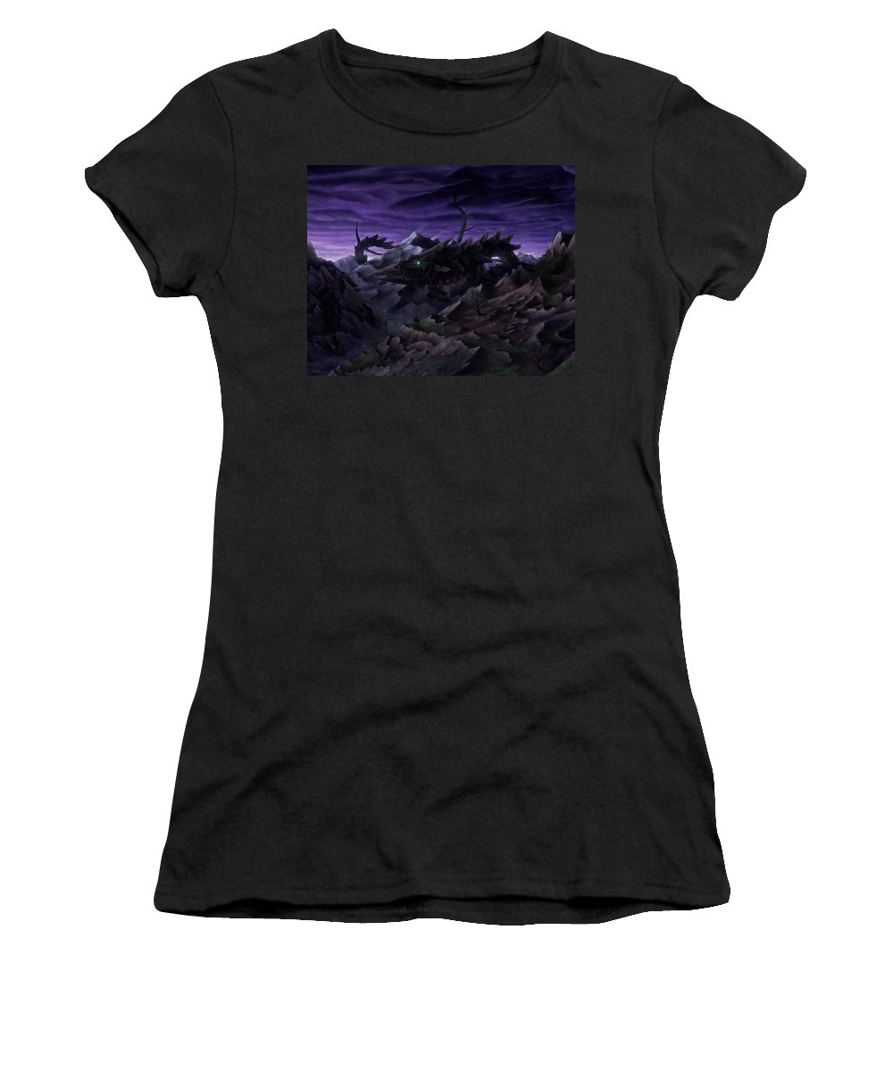 Mountain Landscape Women's T-Shirt (Athletic Fit) featuring the digital art Forbidden Land Of The Beasts Descent by Christopher Rapczynski