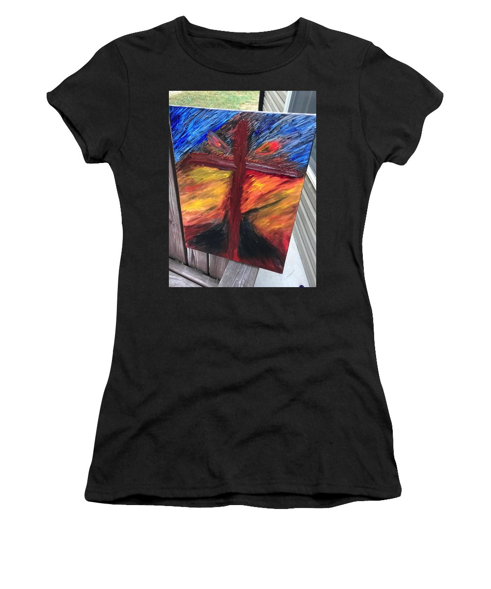 Women's T-Shirt featuring the painting Force Of God by David Molleo