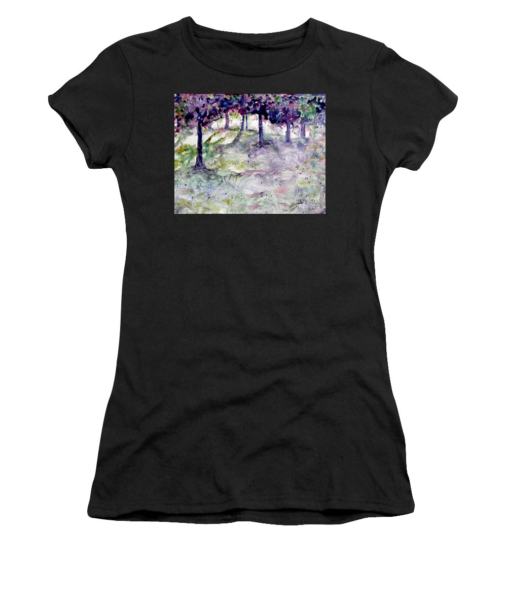 Fastasy Women's T-Shirt (Athletic Fit) featuring the painting Forest Fantasy by Jan Bennicoff