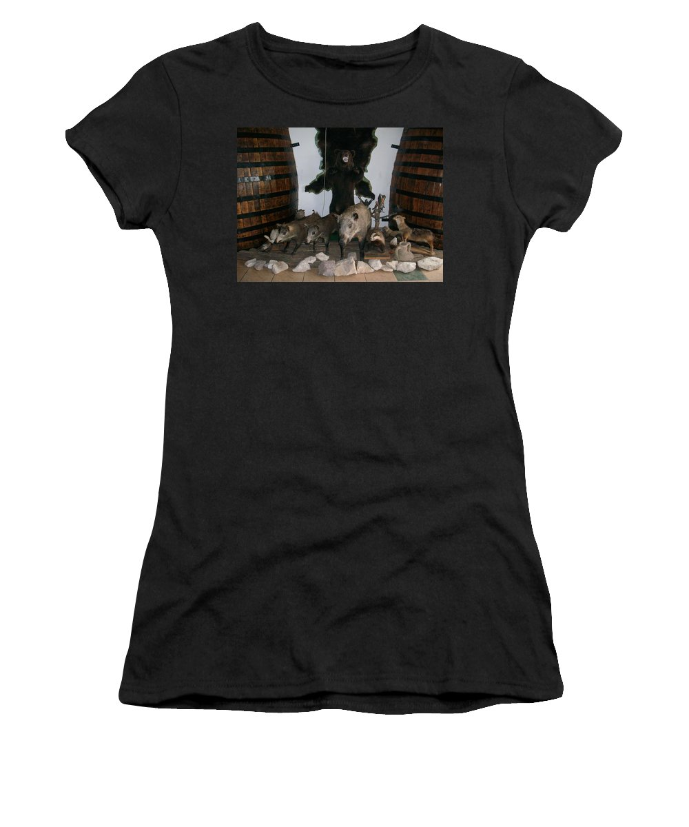 Animals Women's T-Shirt (Athletic Fit) featuring the photograph Forest Friendship by Georgeta Blanaru