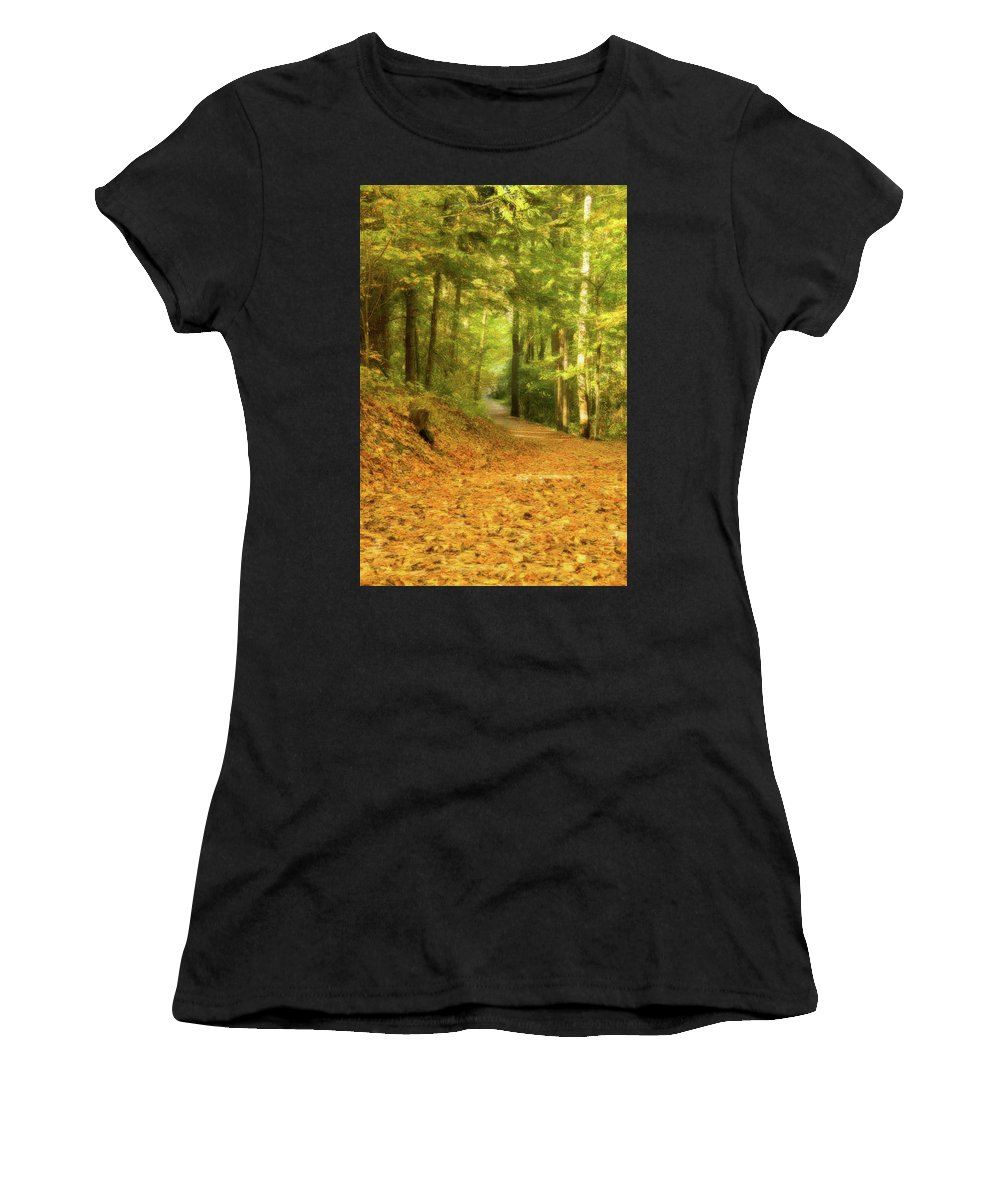 Forest Women's T-Shirt featuring the digital art Forest Path by Ramona Murdock
