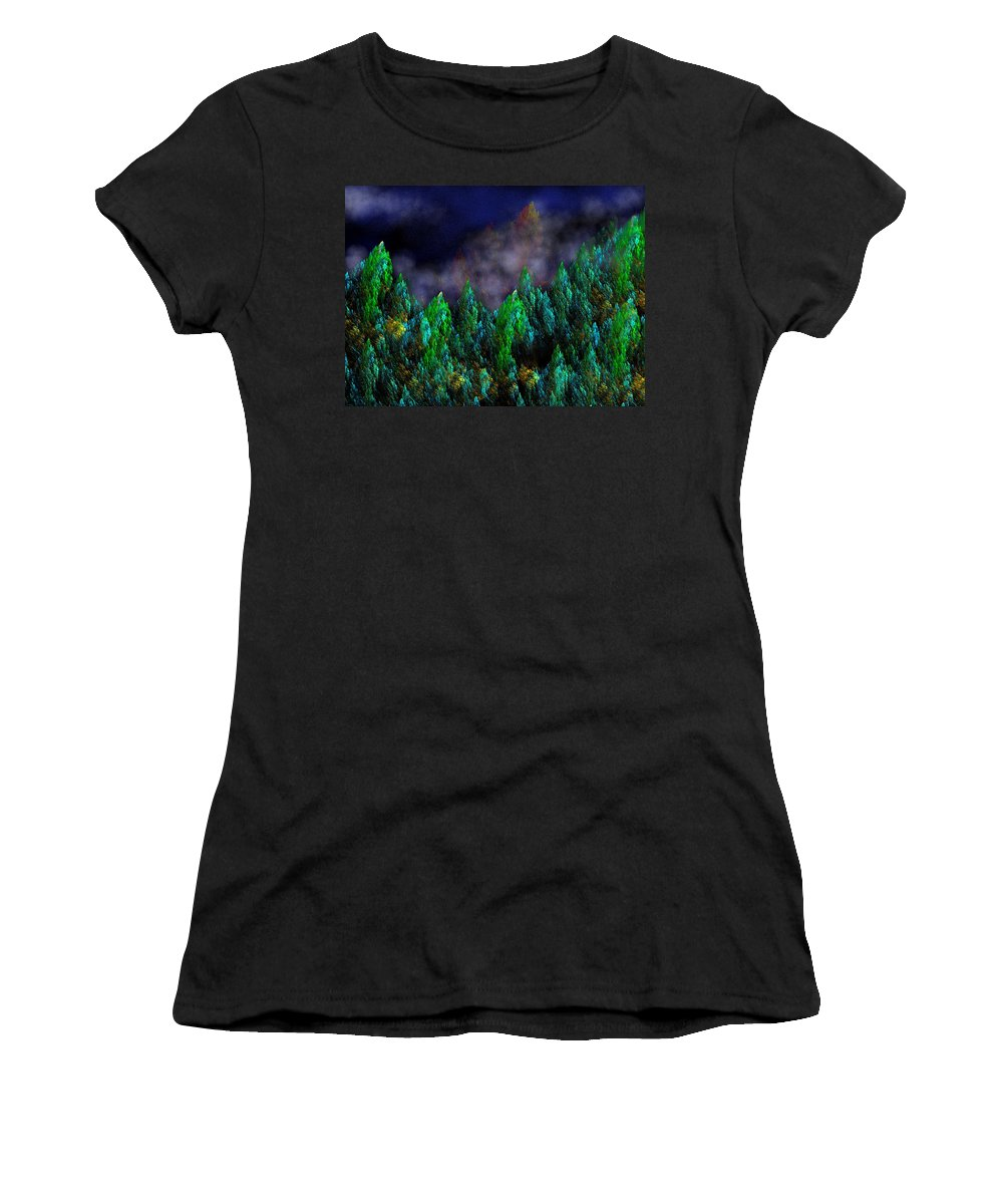 Abstract Digital Painting Women's T-Shirt featuring the digital art Forest Primeval by David Lane