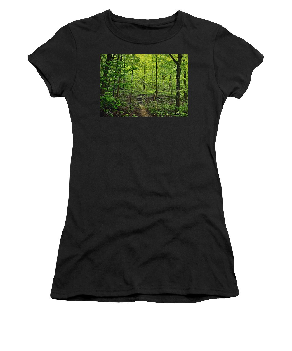 Canada Women's T-Shirt (Athletic Fit) featuring the photograph Forest Stairs by Phill Doherty