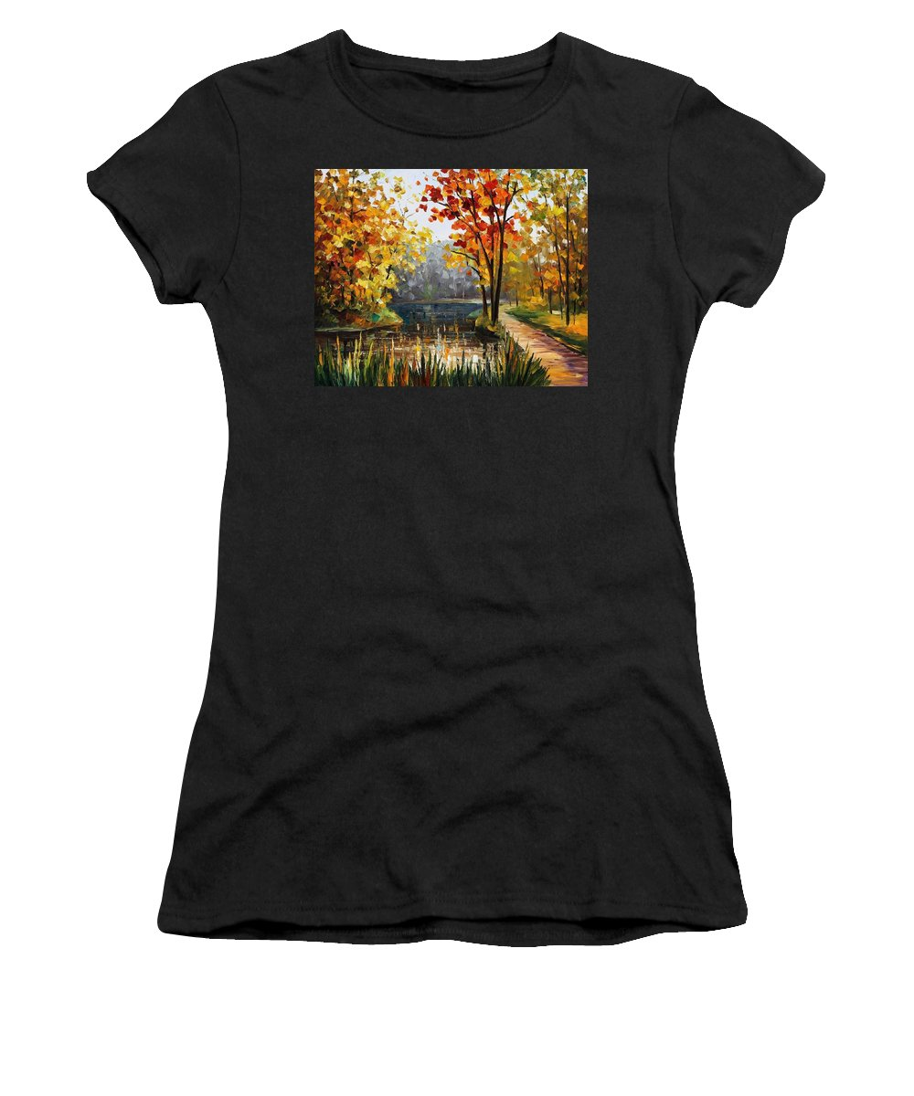 Afremov Women's T-Shirt featuring the painting Forest Stream by Leonid Afremov