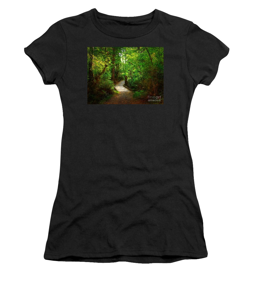 Trail Women's T-Shirt (Athletic Fit) featuring the photograph Forest Trail by Sharon Talson