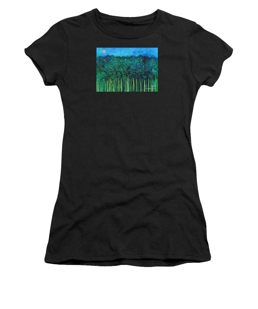Hao Aiken Women's T-Shirt featuring the painting Forest Under The Full Moon - Abstract by Hao Aiken