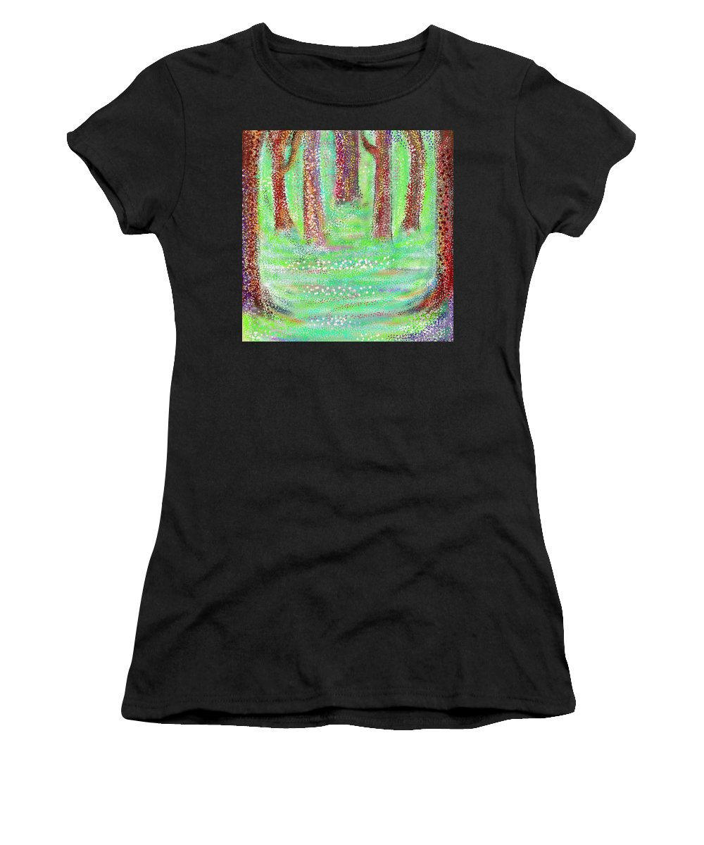 Abstract Women's T-Shirt featuring the digital art Forest View by Chris Dippel