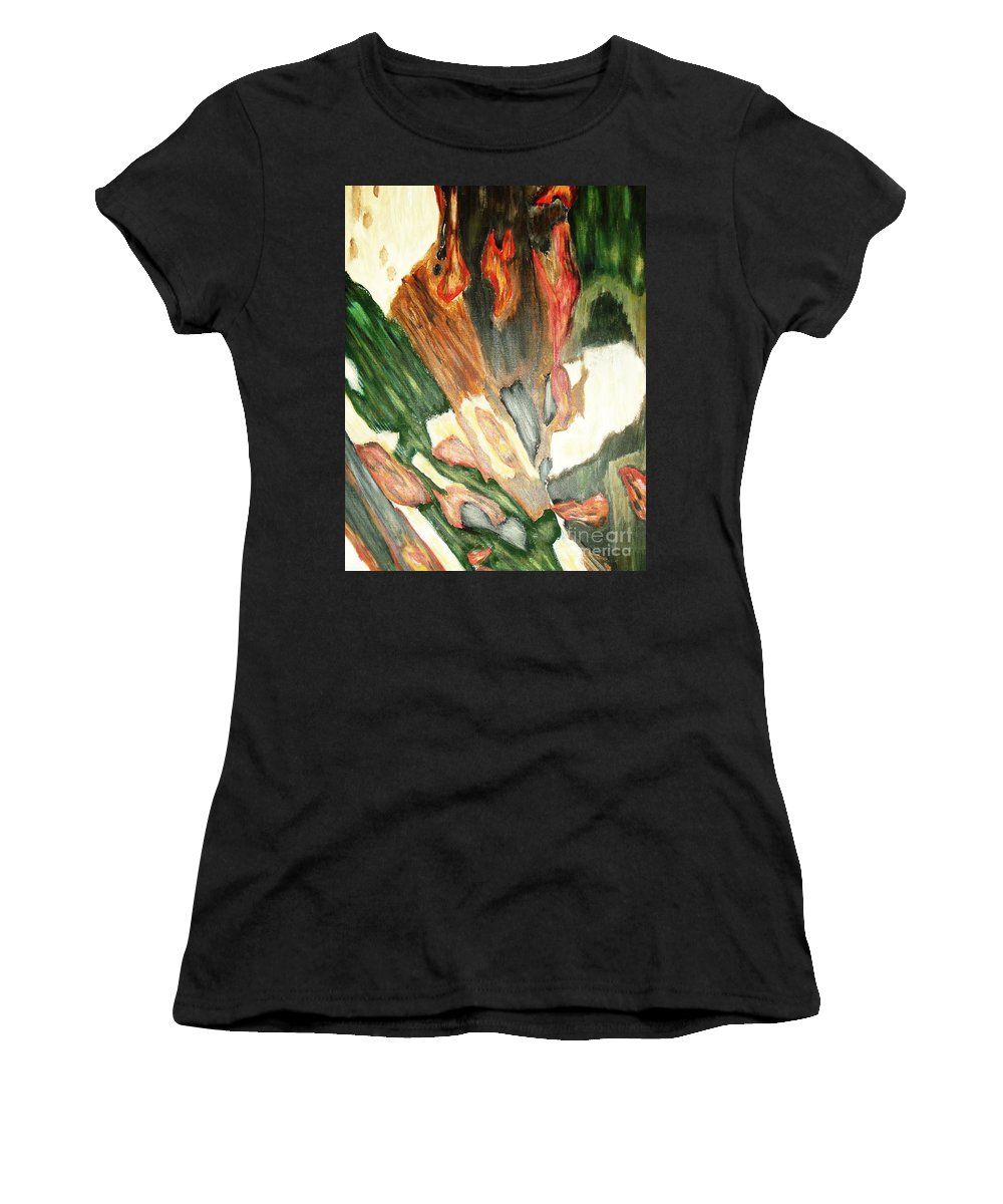 Abstract Women's T-Shirt (Athletic Fit) featuring the painting Forest by Yael VanGruber