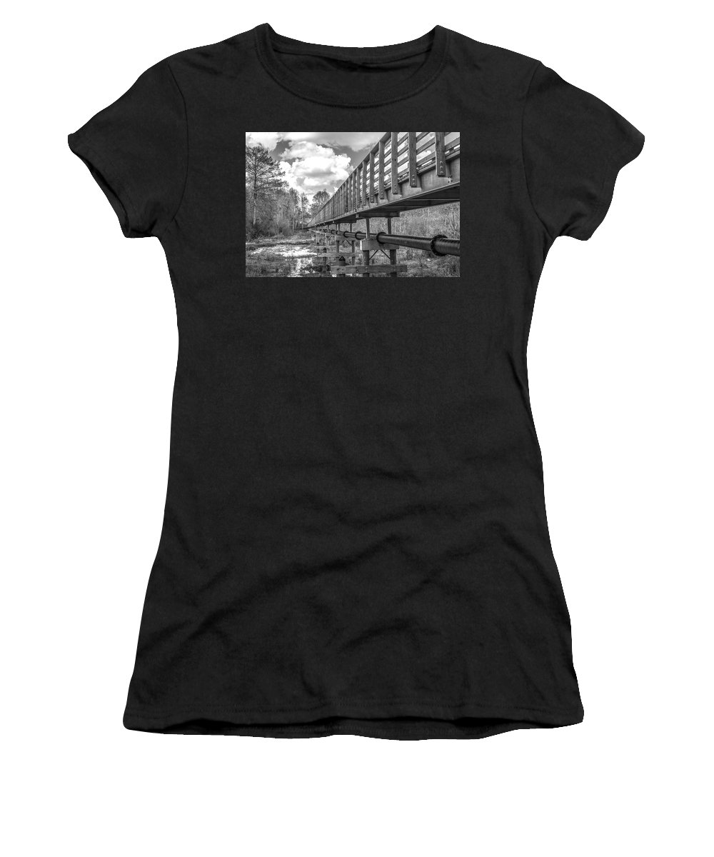Nature Women's T-Shirt (Athletic Fit) featuring the photograph Forever Wild Trail Black And White by Jeremy Raines