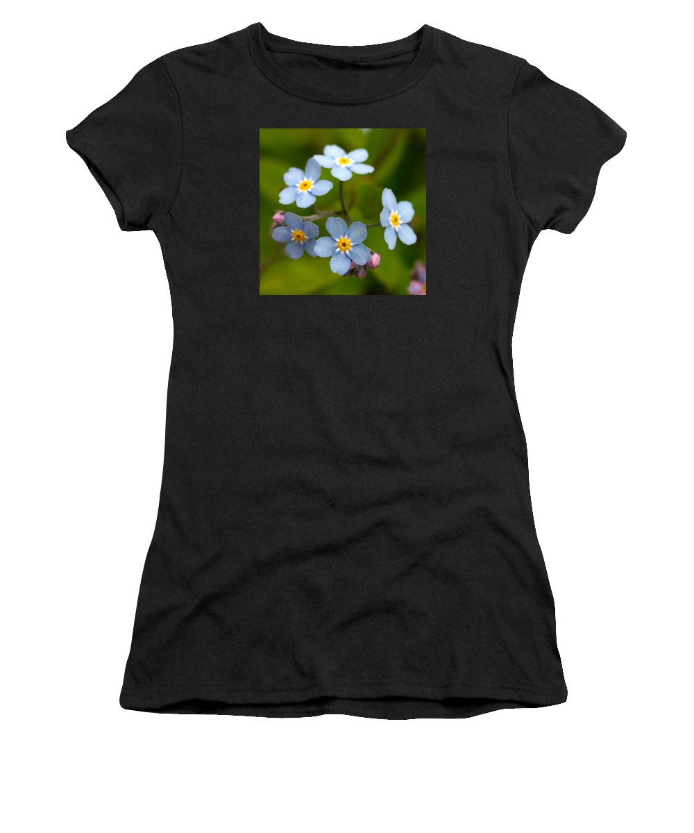 Lehtokukka Women's T-Shirt (Athletic Fit) featuring the photograph Forget-me-not by Jouko Lehto