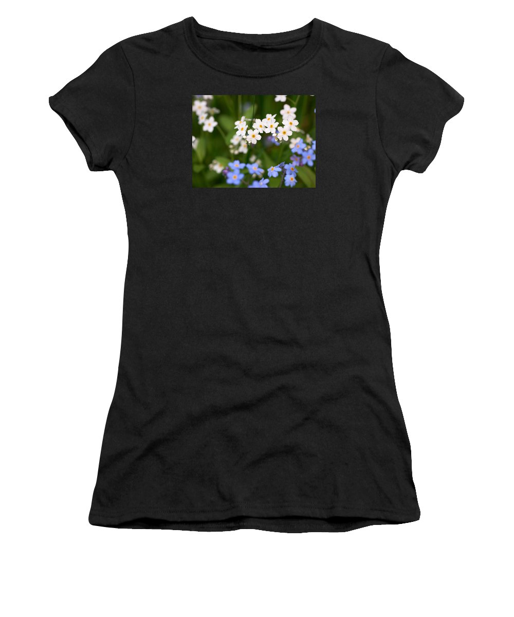 Lehtokukka Women's T-Shirt (Athletic Fit) featuring the photograph Forget Me Nots by Jouko Lehto