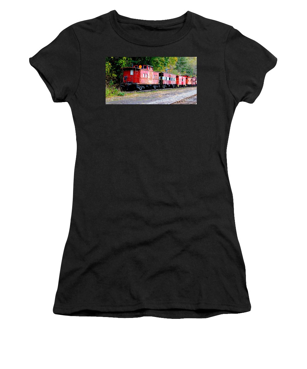 Trains Women's T-Shirt (Athletic Fit) featuring the photograph Forgotten by Gerri Ricci