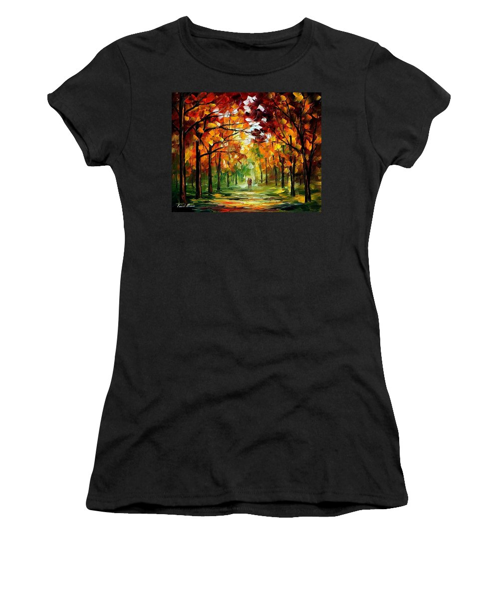 Jandscape Women's T-Shirt (Athletic Fit) featuring the painting Forrest Of Dreams by Leonid Afremov