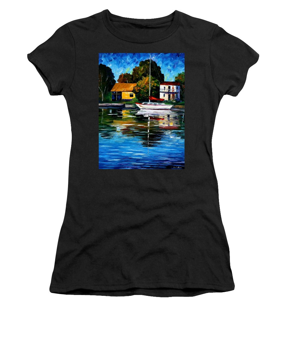 Afremov Women's T-Shirt (Athletic Fit) featuring the painting Fort Lauderdale - Florida by Leonid Afremov