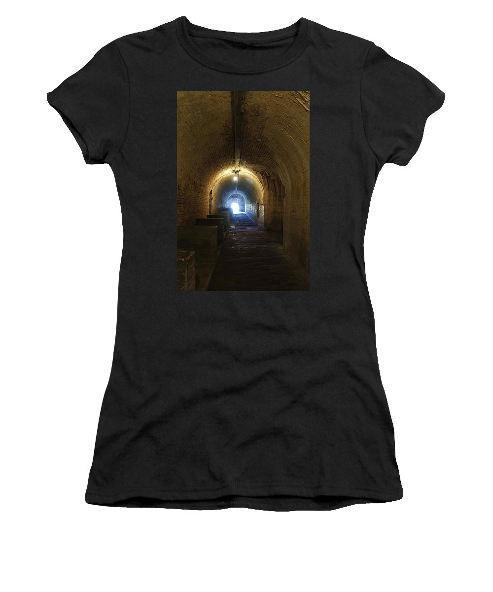 Fort Women's T-Shirt featuring the photograph Fort Pickens Hall by Laurie Perry
