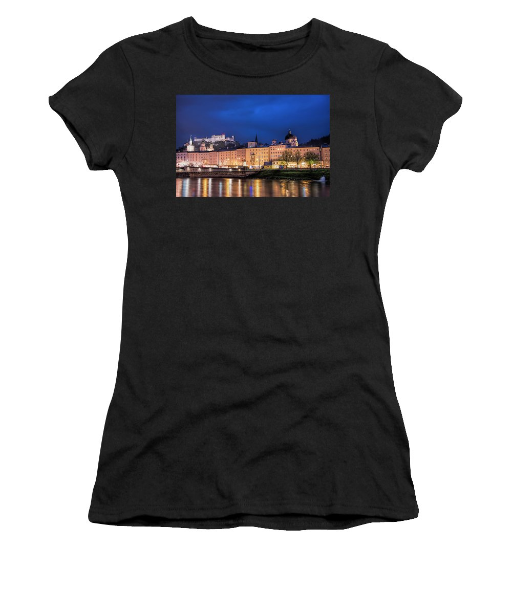 Landscape Water City View Reflection Sky Blue Architecture History Europe Castle Women's T-Shirt (Athletic Fit) featuring the photograph Fortress Hohensalzburg by LOsorio Photography