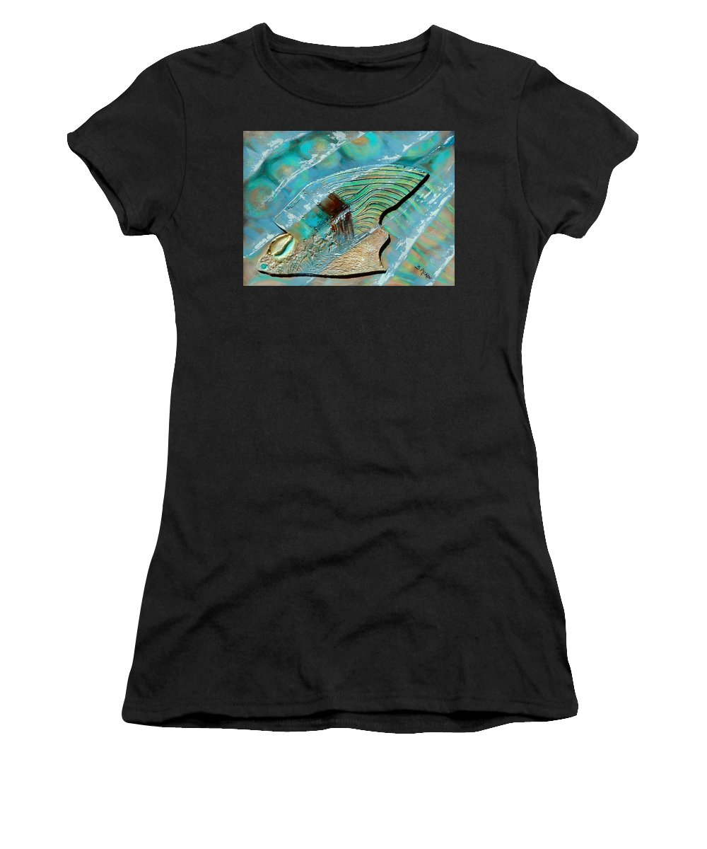 Acrylic Women's T-Shirt (Athletic Fit) featuring the painting Fossil On The Shore by Suzanne McKee