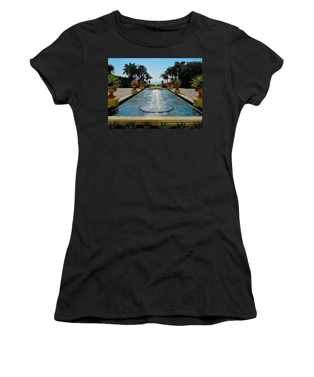 Blue Sky Women's T-Shirt featuring the photograph Fountain Pool by Dale Chapel