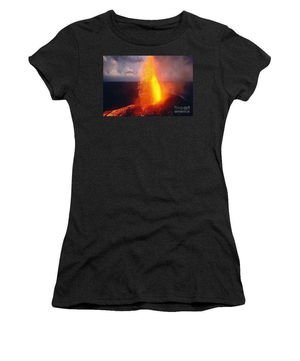 A'a Women's T-Shirt featuring the photograph Fountaining Kilauea by Allan Seiden - Printscapes