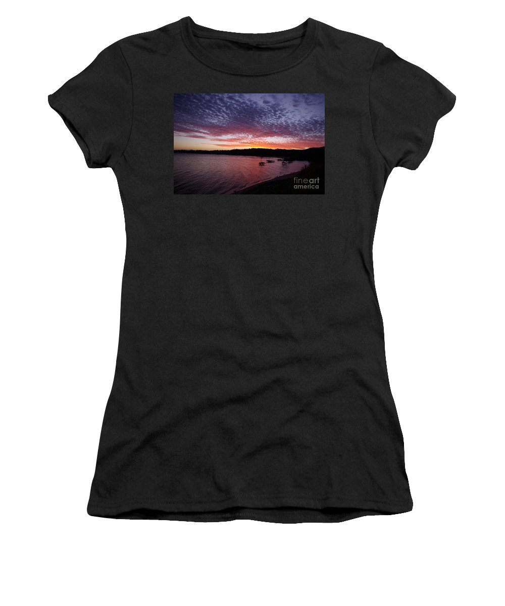 Landscape Women's T-Shirt (Athletic Fit) featuring the photograph Four Elements Sunset Sequence 1 Coconuts Qld by Kerryn Madsen - Pietsch
