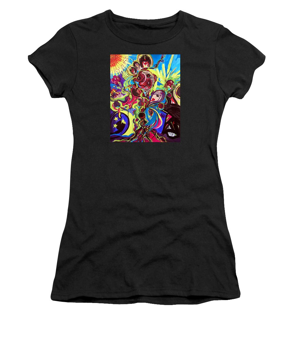 Abstract Women's T-Shirt (Athletic Fit) featuring the painting Experimenting With Creation by Marina Petro