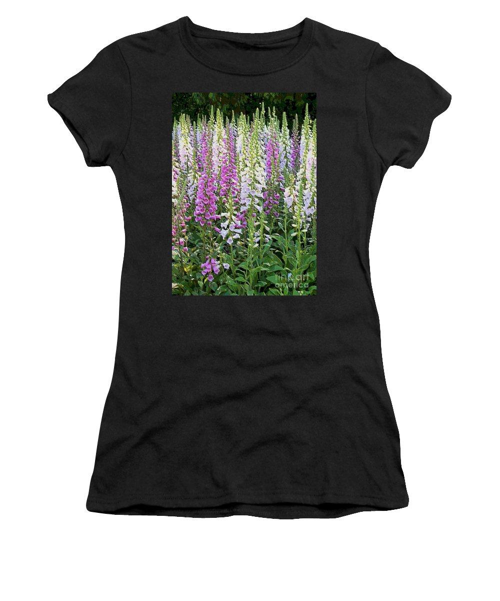 Foxglove Garden Women's T-Shirt (Athletic Fit) featuring the photograph Foxglove Garden - Digital Art by Carol Groenen