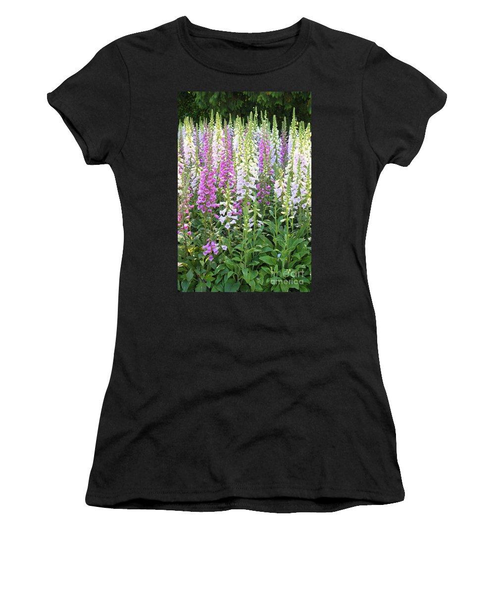Foxfloves Women's T-Shirt featuring the photograph Foxglove Garden - Vertical by Carol Groenen