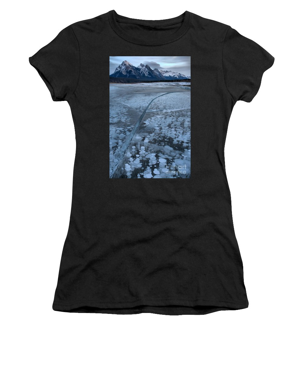 Abraham Lake Women's T-Shirt (Athletic Fit) featuring the photograph Fracture Through The Bubbles by Adam Jewell